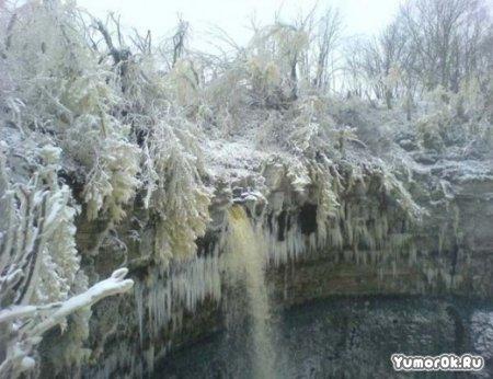Водопады зимой