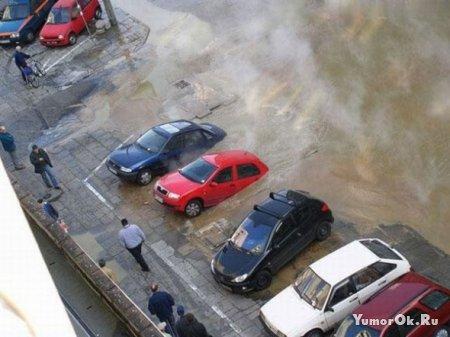 Машины утонули