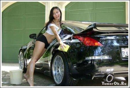 Девушки и мойка машин
