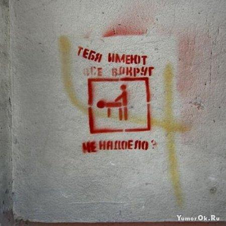 Прикольные рисунки на стенах домов