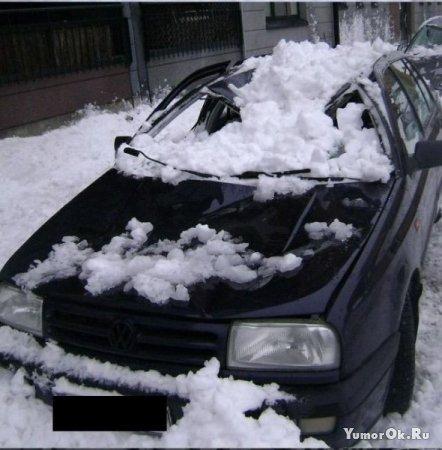 Как убирают снег с крыши